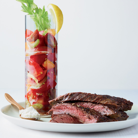 Salt and Pepper Steak with Bloody Mary Tomatoes Beauty A130423 Food & Wine Handbook August 2013