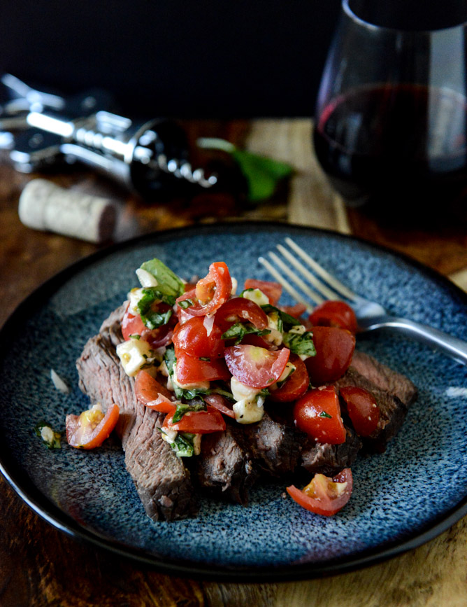 Red Wine Marinated Flank Steak with Cherry Tomato Caprese Salsa