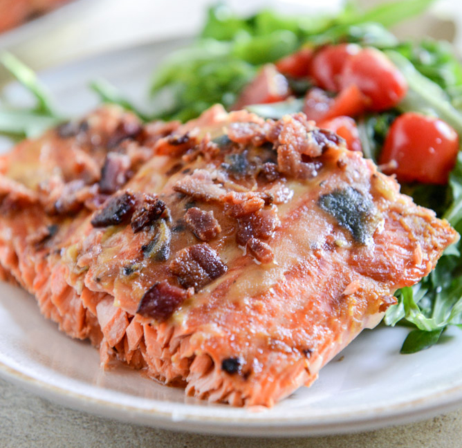 Easy Grilled Maple Dijon Salmon with Bacon 3B