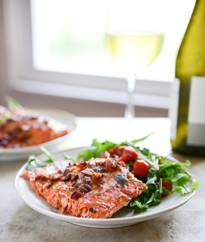 Easy Grilled Maple Dijon Salmon with Bacon