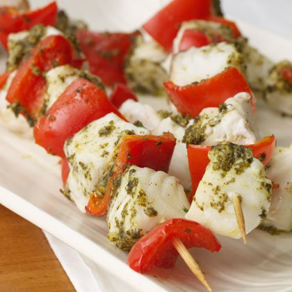 Pesto Halibut Kebabs