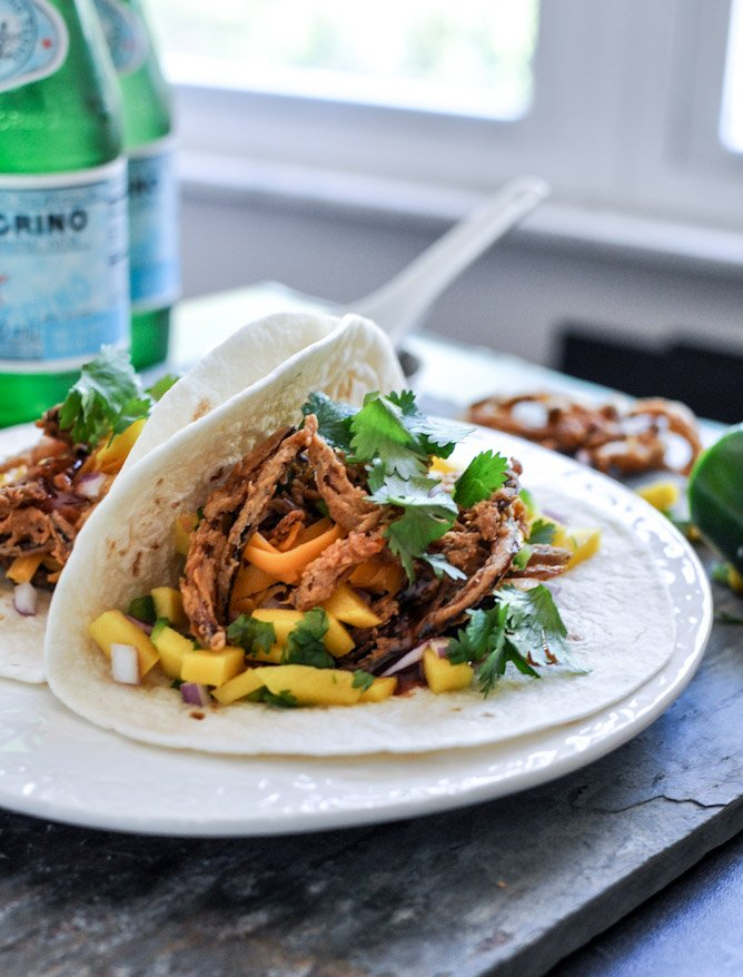 Crockpot BBQ Beer Pulled Pork Tacos with Crispy Onion Straws and Mango Salsa 3