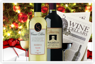 Wine Club Selections in front of the Christmas Tree